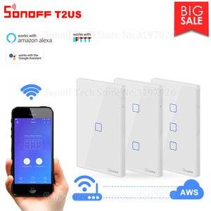 Image 1 - Itead Sonoff Nieuwe T2US 120 Size 1/2/3 Gang Tx Serie 433Mhz Rf Remoted Gecontroleerde Wifi Switch Werkt met Alexa Google Home Ifttt