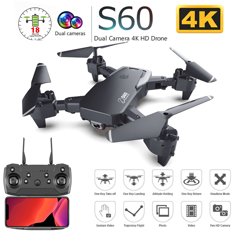S60 Drone with Dual Camera 4K HD WiFi FPV Wide Angle Optical Flow Professional Foldable RC Quadcopter Helicopter Kid Toys VS E58