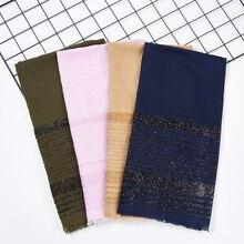 Stoclot diseño de lujo Shimmer Hijab Stripe para mujeres musulmanas brillante señora algodón chales hiyab Wrap Color sólido bufanda Hijab Islámica