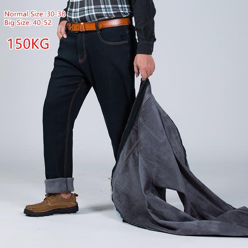 2019 150KG Warm Jeans Thicken Black Men Elastic High Waist Man Winter Trousers Big Size 44 46 48 50 52 Classic Denim Fleece Pant