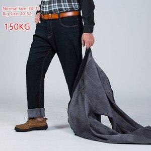 Image 1 - 2020 150KG chaud jean épaissir noir hommes élastique taille haute homme hiver pantalon grande taille 44 46 48 50 52 classique Denim polaire pantalon