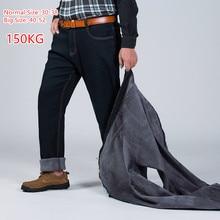 2020 150KG ocieplane dżinsy zagęścić czarne męskie elastyczny, wysoki stan mężczyzna zimowe spodnie duży rozmiar 44 46 48 50 52 klasyczne spodnie jeansowe z polaru