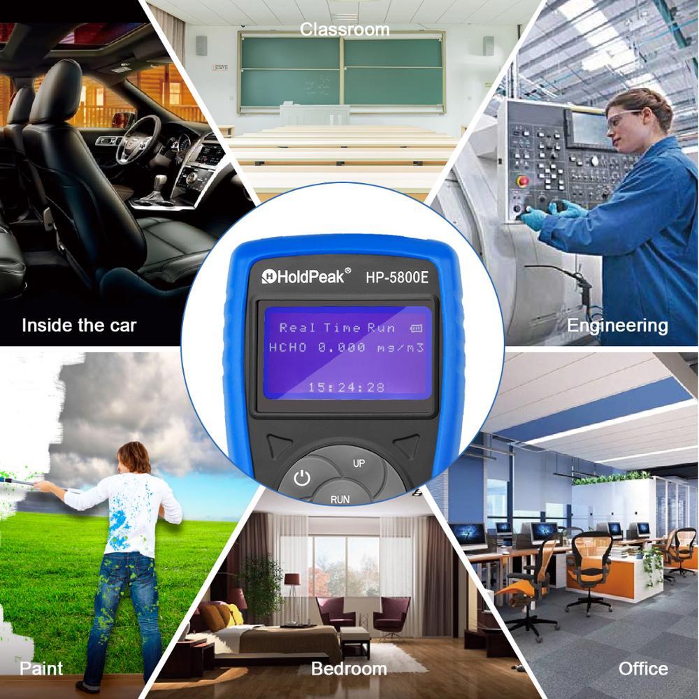 Detector de Monitor de formaldehído Holdpeak 5800E con luz de fondo y apagado automático para pruebas medioambientales en interiores y exteriores - 6