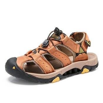 Mens Sandals Men Leather Black Rubber Men Summer Shoes Casual Big Size Gladiator Sandals for Men Casual Shoes Beach Soft Bottom