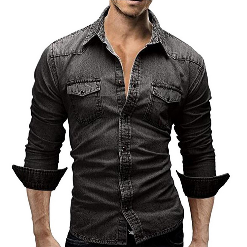 JODIMITTY Denim Shirt Men Cotton Jeans Shirt Fashion Autumn Slim Long Sleeve Cowboy Shirt Stylish Wash Slim Tops Asian Size 3XL