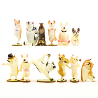 6Pcs 6.5 8cm Playing Dog Figurine Miniature Decoration Yoga Hip hop Husky Model mini fairy garden Cartoon Resin Craft Home Decor
