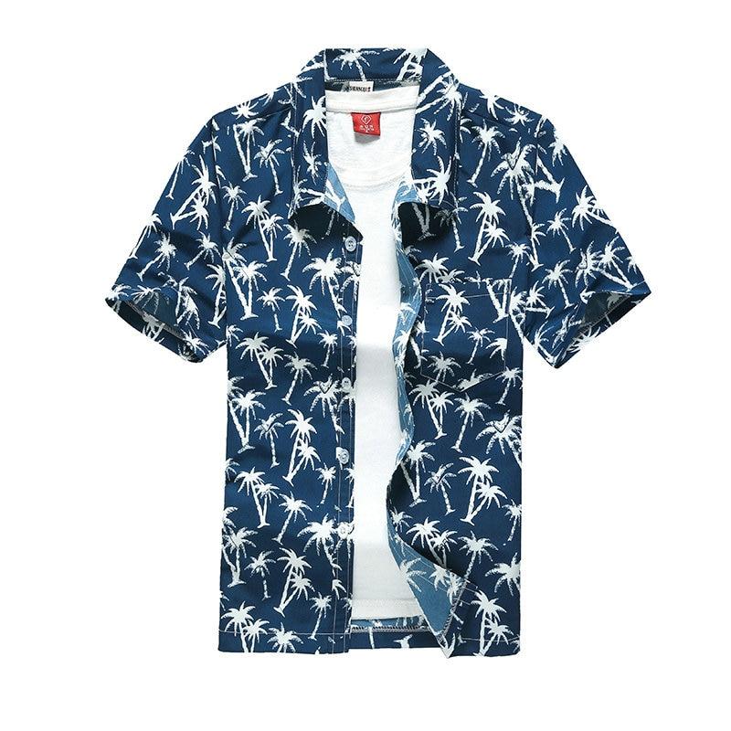 Beach Shirts Men Summer Vacation camisas para hombre Coconut tree Printed Short Sleeve Button Down Hawaiian shirts for Men M-5XL 4
