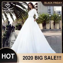 Атласное свадебное платье с длинным рукавом 2020, юбка трапеция с поясом и карманом, свадебное платье принцессы, Vestido de novia TZ27
