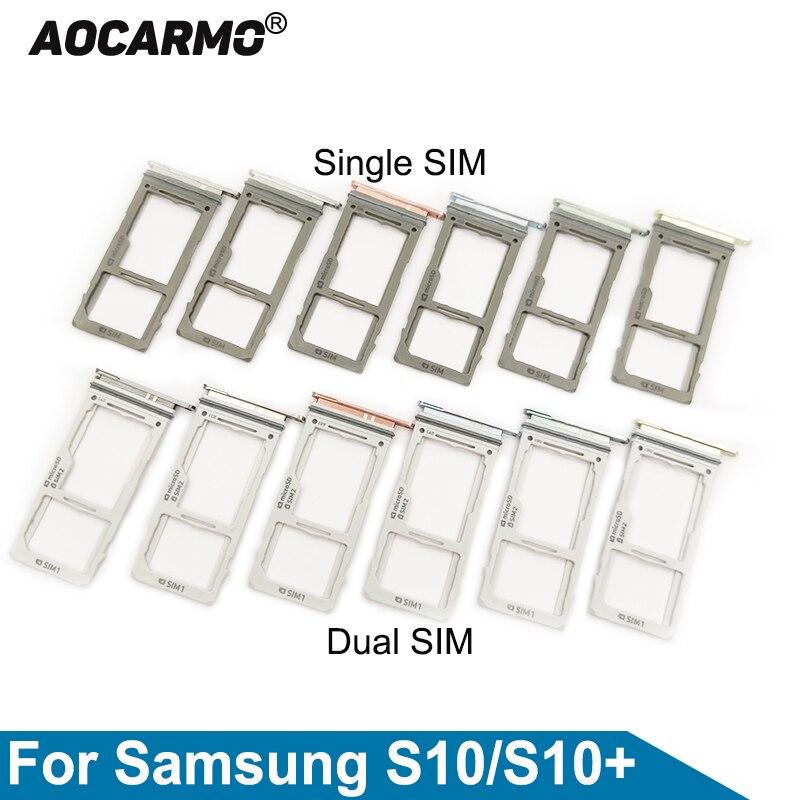 Aocarmo For Samsung Galaxy S10 / S10+  S10plus Single/Dual Metal Plastic Nano Sim Card Tray MicroSD Slot Holder SM-G9730 G9750