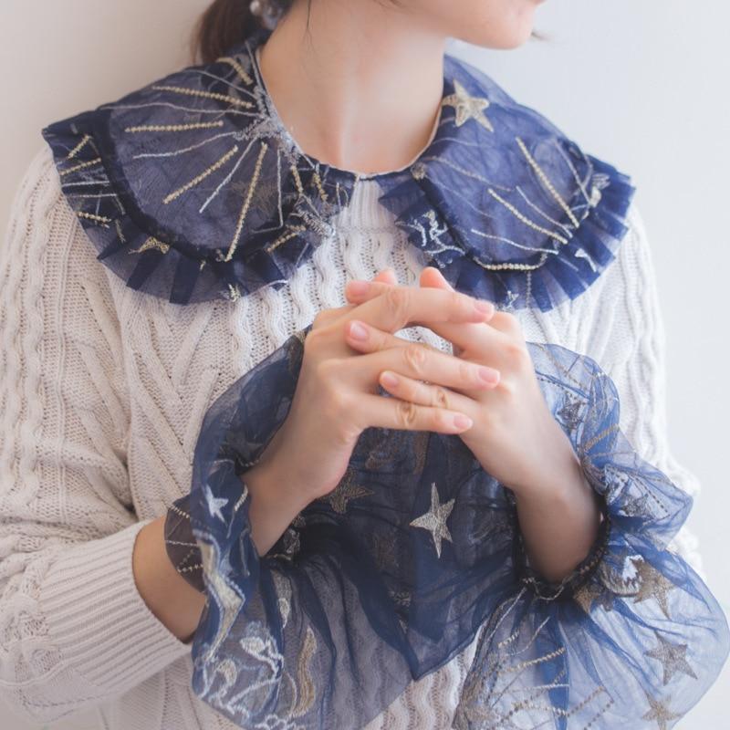 Fake Arm Sleeves Organ Cuff Pleated Horn Cuffs Wild Lotus Leaf Sweater Autumn And Winter Models Gold Thread Pegasus Doll Collar