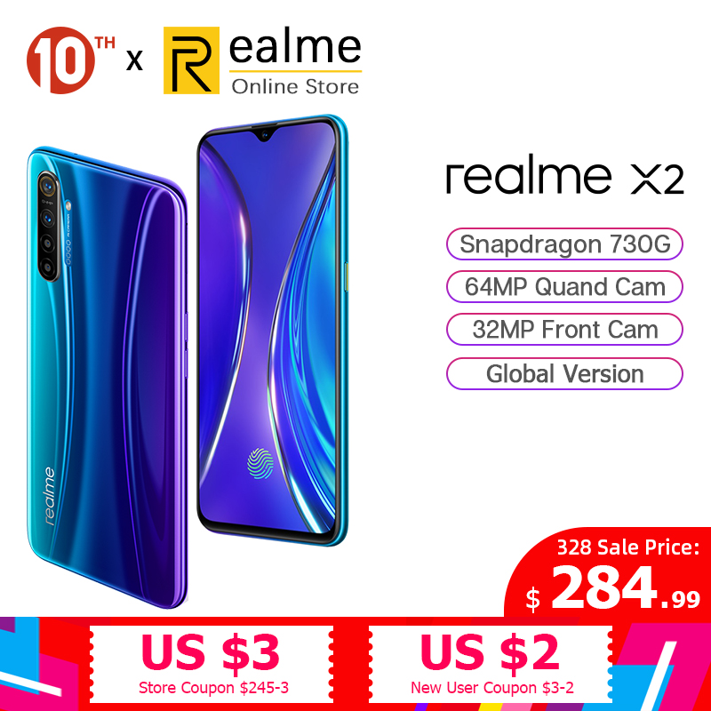 Global Version Realme X2 X 2 8GB 128GB Snapdragon 730G Smartphone Octa Core 64MP Quad Cams 6.4'' NFC Cellphone 30W VOOC