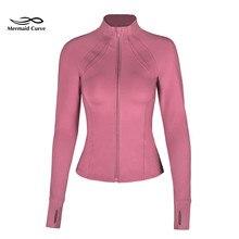 Женская куртка для бега с высоким воротником, тянущаяся, облегающая, с длинным рукавом, с отверстием для большого пальца, спортивная куртка на молнии, быстросохнущее пальто для фитнеса