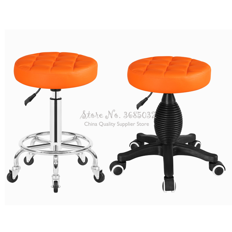 Round Beauty Stool Pulley Work Chair Rotary Lift Makeup Chair Beauty Chair Beauty Salon Special  Stool,W