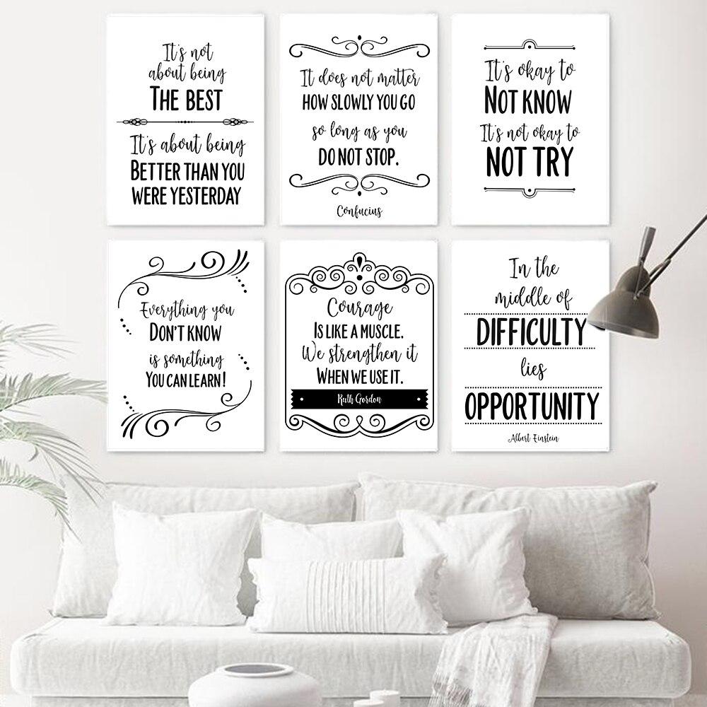 Мотивационные Печать на холсте плакат рост позитивный настрой картина с цитатой плакат учителя подарок школьная классная комната, для стен искусство