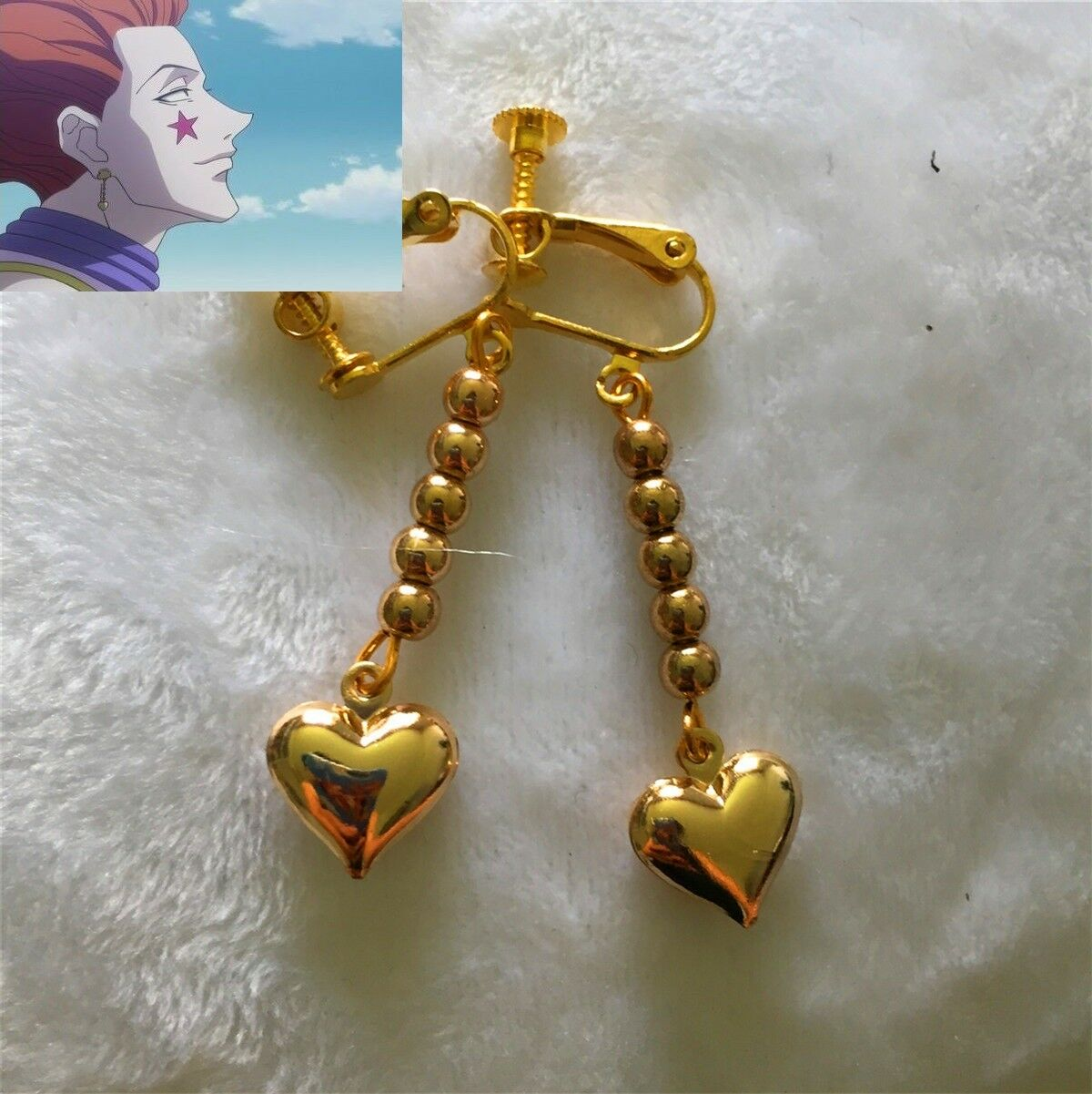 Anime Earring HUNTER X HUNTER Hisoka Cosplay Golden Heart Cosplay Costume Prop