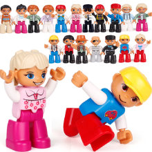 Jogar casa boneca grandes blocos de construção modelo acessório familiar trabalhador médico bombeiros brinquedos para crianças tijolos compatíveis figuras conjunto