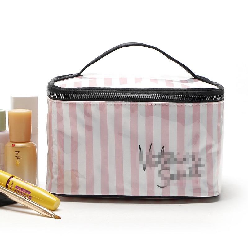 Cosmetic Bag 2019 New Portable Travel Fashion Simple Washing Bag Pink Stripe Waterproof Cosmetic Bag Hand-held Cosmetic Box