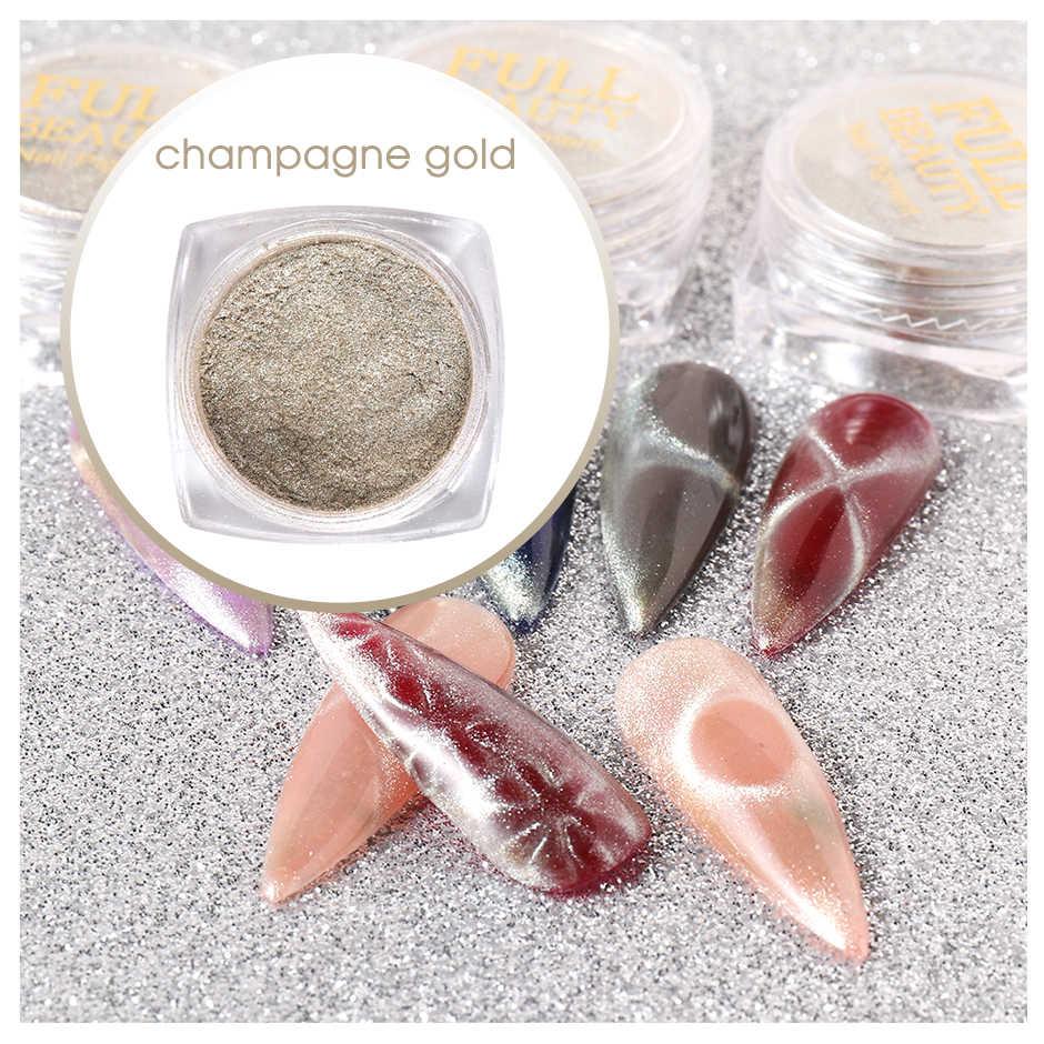 0.5g 9D แมวตาเล็บ Glitter ผงแม่เหล็กเล็บ Chrome Pigment ประกาย Bubble UV GEL Decoration CHMM01-02