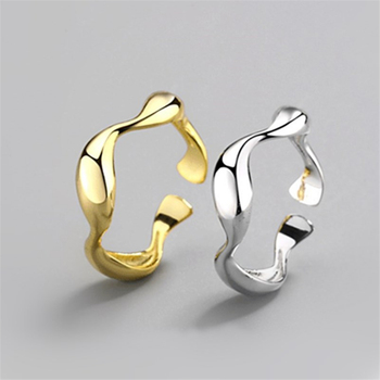 Fine jewelry New Creativity Simple Irregular Wave Finger Rings Female Golden Silver 925 Glossy Temperament Open Ring Anniversity image