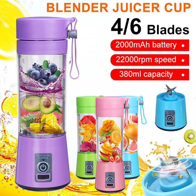 380ml 4/6 Blades Portable Electric Fruit Juicer USB Multifunctional Smoothie Maker Blender Machine Sports Bottle Juicing Cup