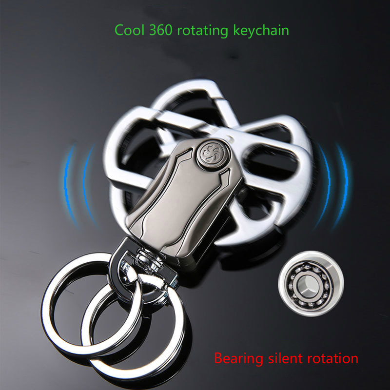 Cool Keychain 360 Degree Bearing Silent Rotation Design Key Ring Men's Fashion Key Chain Gift