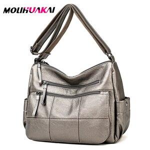 Image 1 - 2019 Luxury Thread Handbags Women Bags Designer Soft Leather Bags For Women Crossbody Messenger Bag Ladies Vintage Shoulder Bag