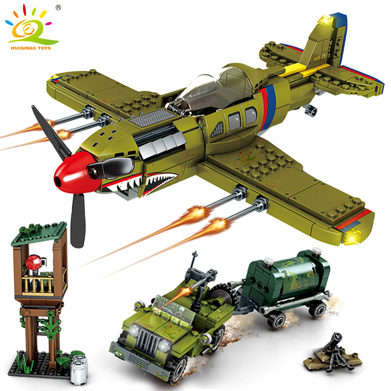 649pcs WW2 US Army P-40 Fighter Pearl Harbor Building Block Legoing Airplane Military Model Bricks Construction Toy For Children