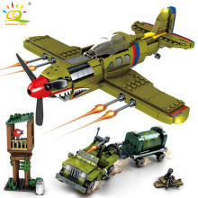 649pcs WW2 US Army P-40 Fighter Pearl Harbor Building Block Legoing Airplane Military Model Bricks Construction Toy for children(China)