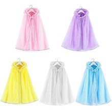 Girls Princess Costume Tulle Cape Fairy Tales Sheer Hooded Cloak Kids Fancy Dress Summer Sun Protection Long Cloak Shawl 2020 new bridal dress cloak tulle princess proof shawl party stage catwalk photographic portrait tulle cloak