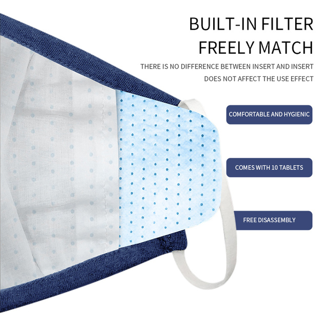 2PCS Cotton Dustproof Mask Activated Carbon Filter Windproof And Flu Mask Equivalent With 10 Filters Health 3