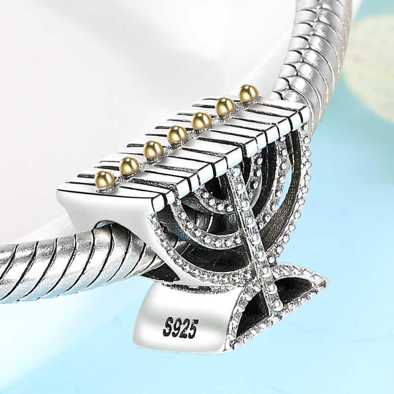 SG 925 ayar gümüş moda menorah judaica yahudi boncuk charms kadınlar için fit orijinal avrupa bilezik takı yapımı
