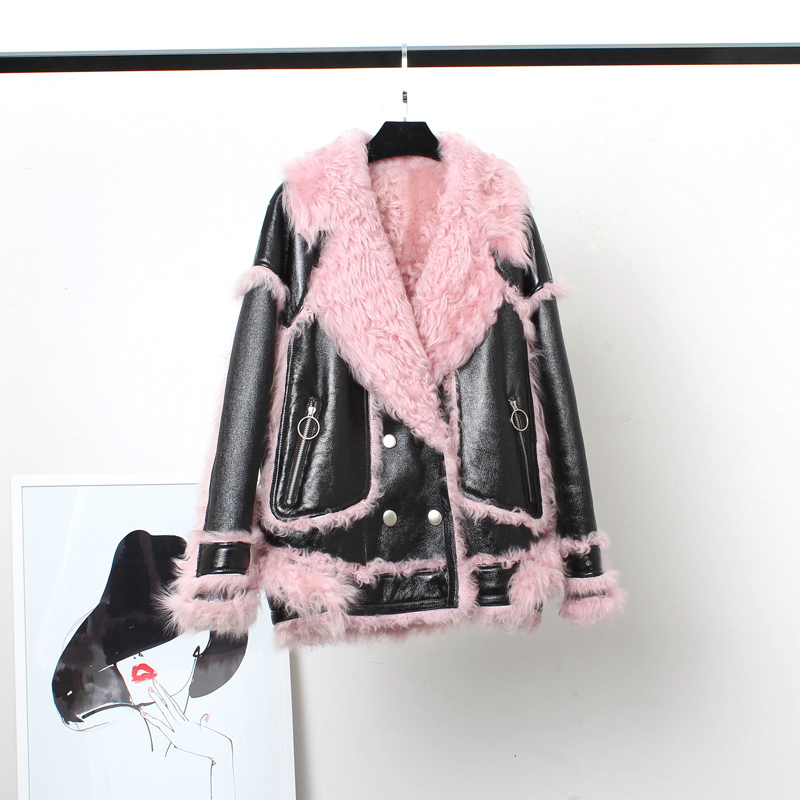 100% Natural Real Fur Coat Female Genuine Leather Jacket Winter Coat Women Clothes 2020 Korean Vintage Double-faced Tops 222380
