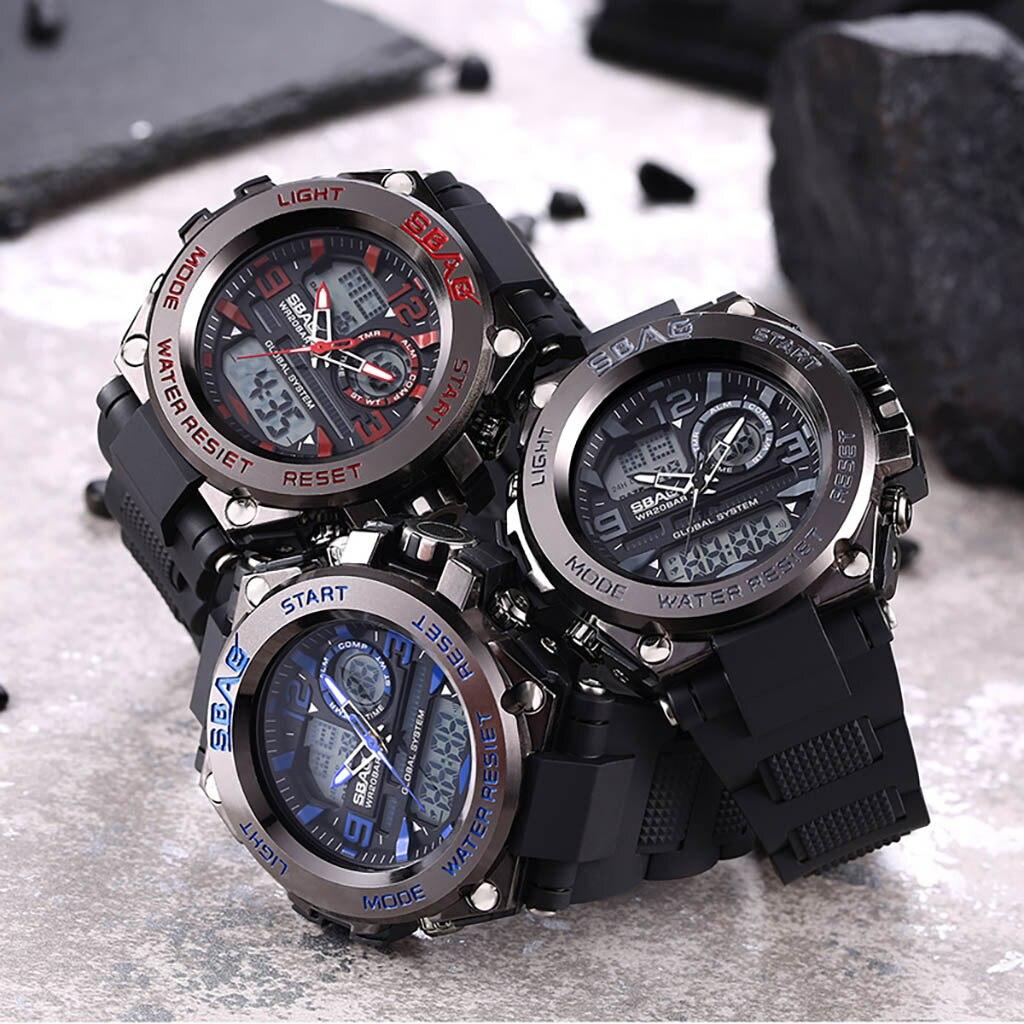 Zegarek çok fonksiyonlu büyük arama yuvarlak çift ekran özel kuvvetler spor erkek saati Erkekler Dijital Kol Saatleri