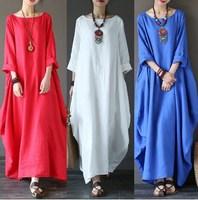 artistic pure color loose large size cotton and linen dress dress gown super fairy dress travel photo