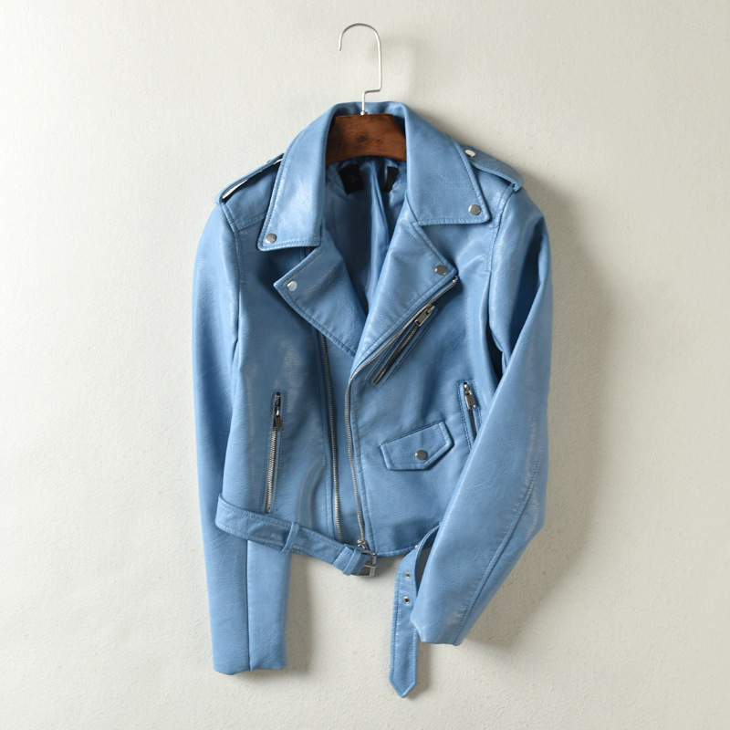 Asstseries/брендовая Демисезонная женская куртка из искусственной мягкой кожи с длинным рукавом, розовая байкерская куртка на молнии, мотоциклетная куртка из искусственной кожи красного цвета Кожаные куртки      АлиЭкспресс