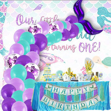 Mermaid Balloon Banner Decoration Mermaid Item Birthday Wedding Party Favors Kids Adult Birthday Parties Decorations Supplies(China)