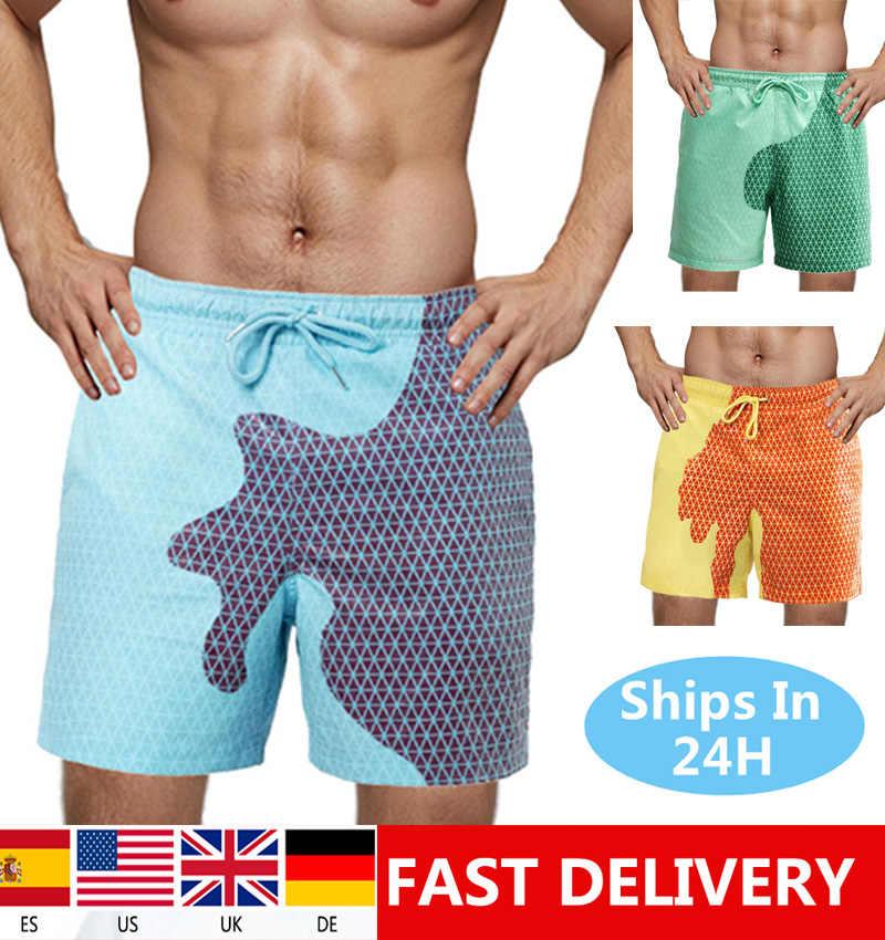 2020 الصيف رجالي الكبار الاطفال سروايل السباحة القصيرة حساسة للحرارة اللون تغيير شاطئ سراويل قصيرة السباحة جذوع السراويل ملابس السباحة