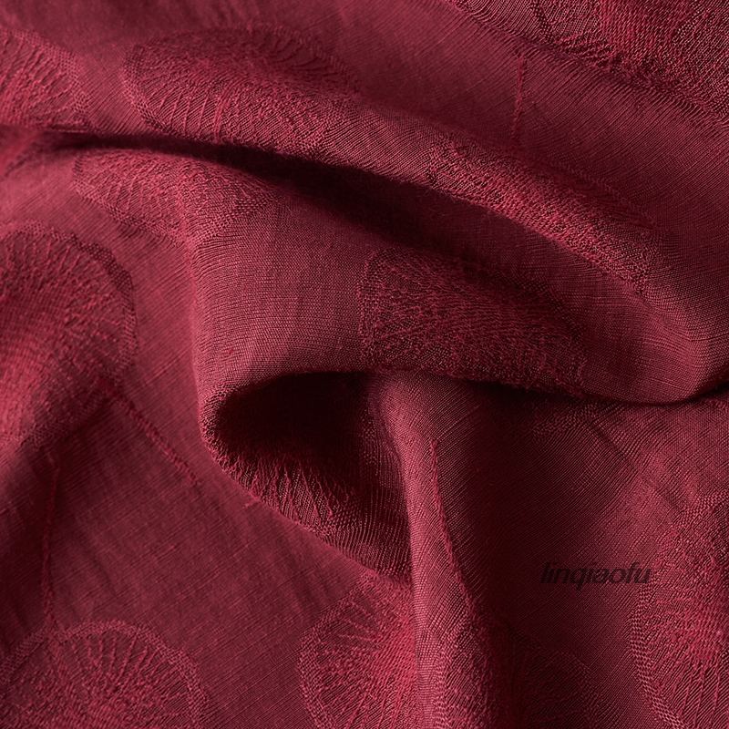 <font><b>Cotton</b></font> and <font><b>linen</b></font> blended fabric 2019 dandelion jacquard wine red high-grade clothing fabric High-end <font><b>linen</b></font> fabric image