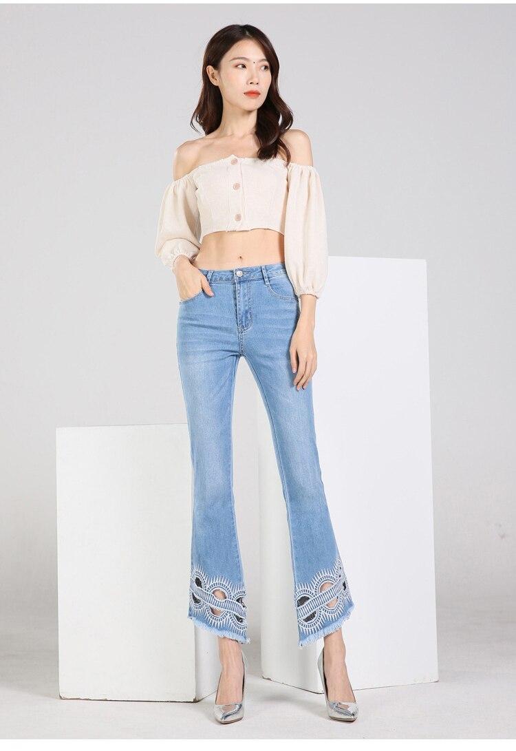 KSTUN FERZIGE high waist women jeans stretch light blue hollow out embroidery slim fit bell bottom pants fashion women's jeans size 36 11