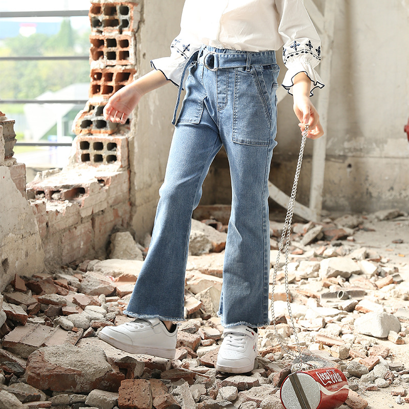 Jeggings Jeans for Girls with Belt Kids Children Clothing Denim Pants Elastic Waist Trousers