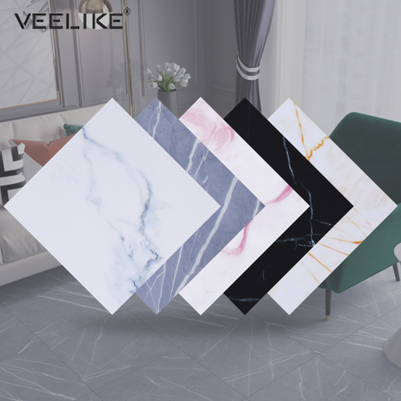 Self-adhesive Marble Wallpaper Waterproof Non-slip Floor Sticker Living Room Floor Contact Paper Kitchen Backsplash Tiles Decals