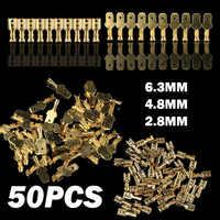 50 pces 6.3/4.8/2.8mm fêmea/masculino spade terminais conectores de fio de extremidade friso terminais selo conjunto de conector de friso