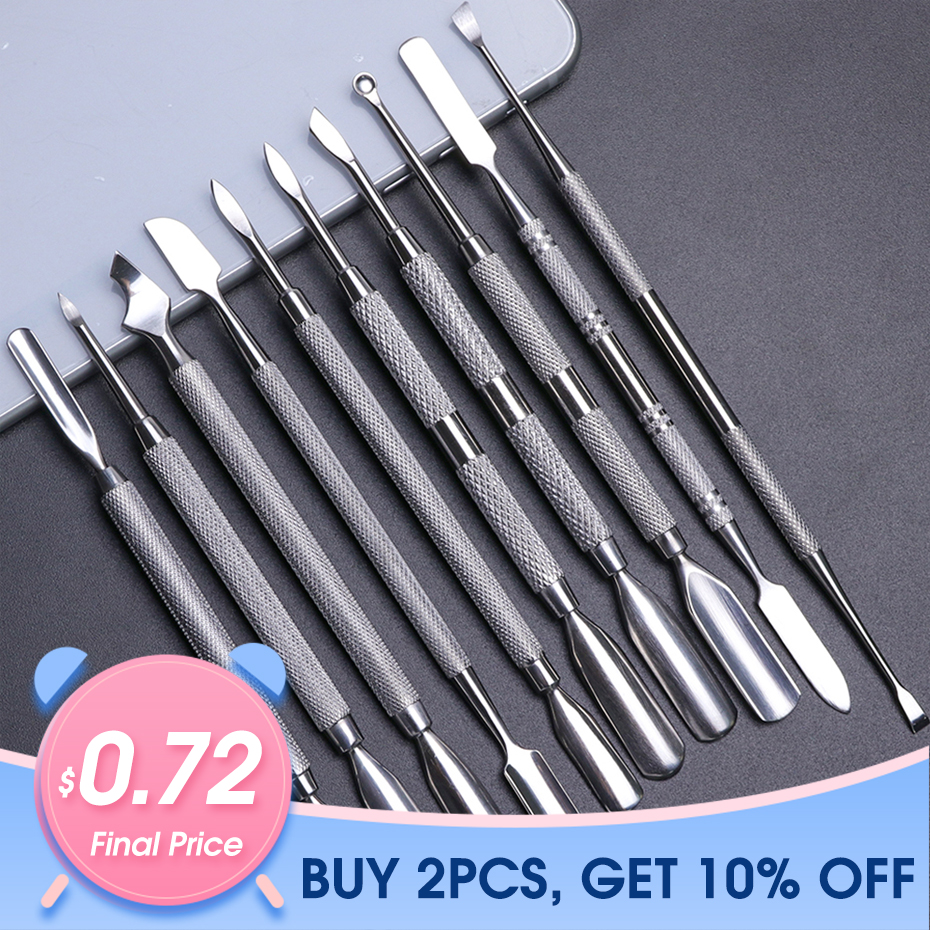 1pcs Dual-end Stainless Steel Nail Cuticle Pusher Spoon Remover Trimmer Dead Skin Manicure Pedicure Cleaner Nail Tool JI34-43