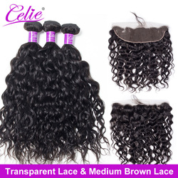 Celie Brazilian Water Wave 3 Bundles With HD Transparent Lace Frontal Closure Remy Natural Wave Human Hair Bundle With Frontal