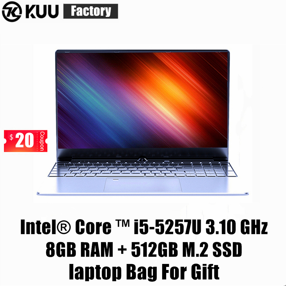 KUU K1 15.6Inch For Intel I5-5257U 3.10GHz Gaming Laptop 512GB SSD FHD Screen Keyboard Backlight Fingerprint Unlock Notebook