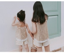 Summer 2020 parent-child outfit girl baby wild sequin suit multiple wear summer