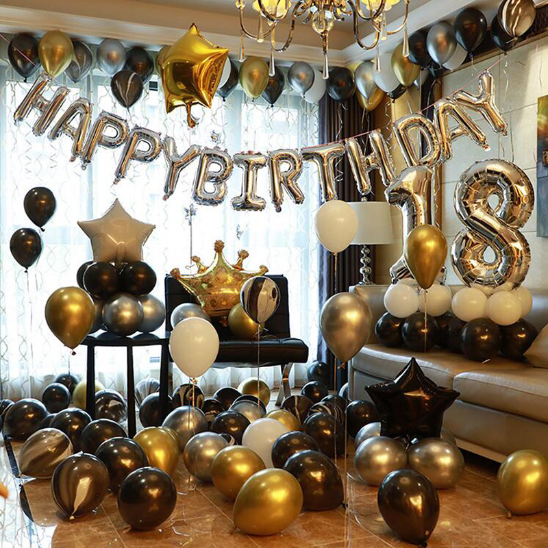 Gold Silver Metal Latex Balloons 18 30 40 50 60 70 80 90 Years Number Happy Birthday Anniversary Party Decor Adult Foil Balloon