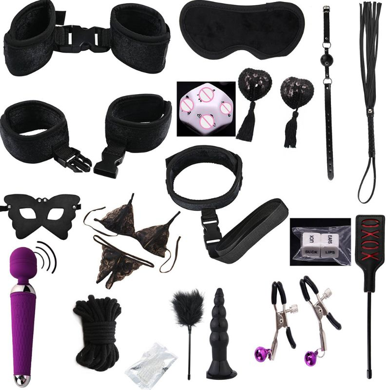 Restraints Vibrator Kit Handcuffs Ankle Bracelet Mouth Plug Eyemask Bondage Set <font><b>Sex</b></font> <font><b>Toys</b></font> <font><b>Games</b></font> <font><b>For</b></font> <font><b>Couples</b></font> Nylon, Silicone image