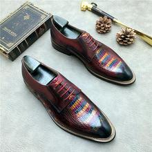 QYFCIOUFU Genuine Cow Leather Brogue Wedding Business Mens Casual Flats Shoes 2019 Vintage Oxford Shoes For Mens Formal Shoes