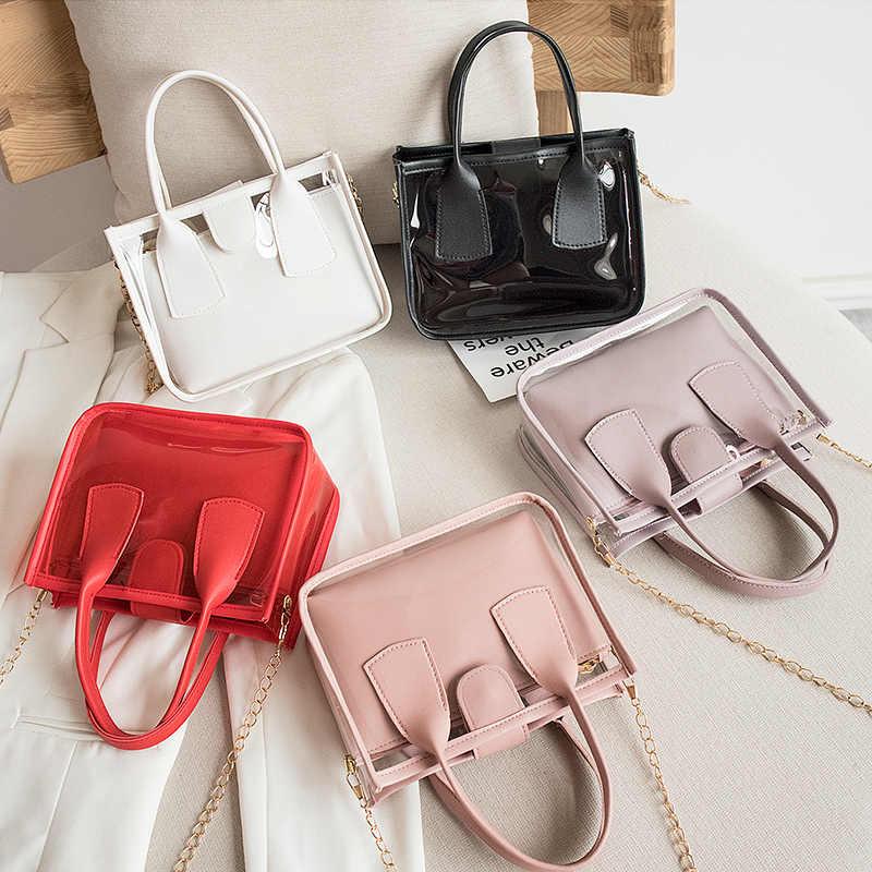 2020 Trend w modzie kobiety panie Solid Color torebka na pasek PVC PU Leather Zipper torby kompozytowe łańcuch pasek na ramię torebka